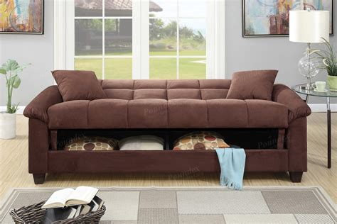 Chocolate Plush Microfiber Futon Sofa Storage Bed Plush Furniture Sofa Beds