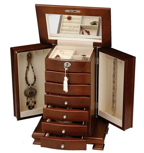 Jewelry Mirror Armoire Tall Dresser Top Walnut Jewelry Armoire Locking Lid