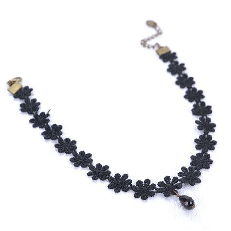 Floral Lace Necklace P 175 black flower lace choker necklace with pendant