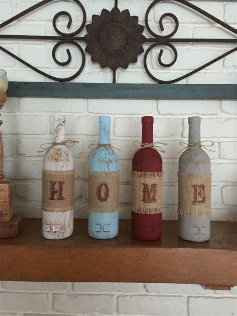wine decorations for the home rustic home decor four wine bottle set home decor rustic