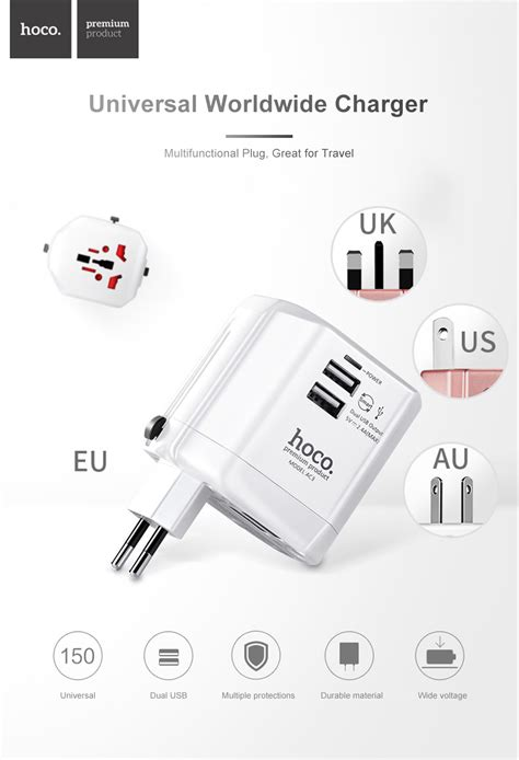 Hoco Dual Usb Universal Travel Charger Power Adapter 2 4a Ac3 dropship hoco ac3 worldwide 2 4a dual usb travel charger adapter to sell chinabrands