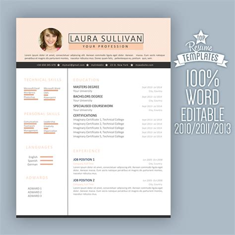 Resume Templates For Creative Professionals Creative Resume Template Word Modern And Professional Cv In Pink Topbusinesstemplates On Artfire