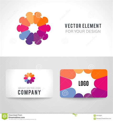 Unity Card Template by Abstract Bright Colorful Communication Logotype Stock