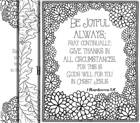 Inspirational Bible Coloring Pages | 3 bible verse coloring pages thanksgiving set inspirational
