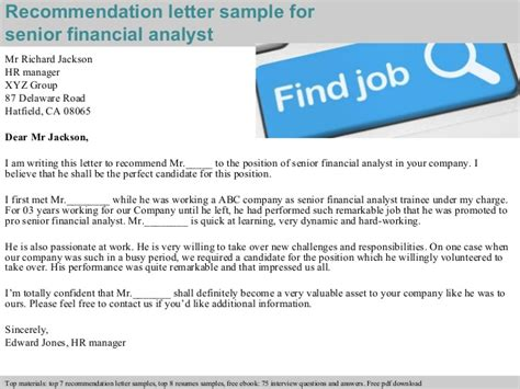Senior financial analyst recommendation letter