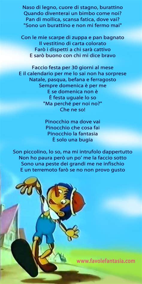 pinocchio testo canzone pinocchio la sigla favole e fantasia