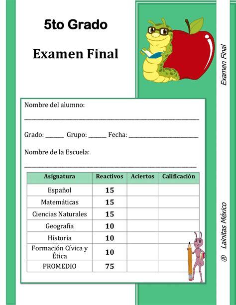 guia de 5 grado de primaria con respuestas 5to grado examen final