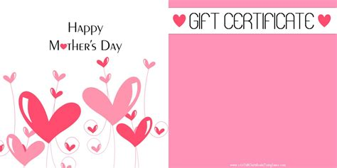 Mothers Day Gift Cards - mother s day gift certificate templates