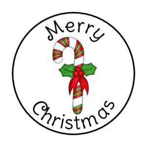 merry christmas candy cane envelope seals labels stickers   ebay