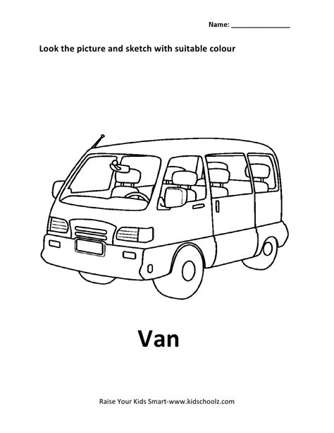 vehicles colouring worksheet van kidschoolz