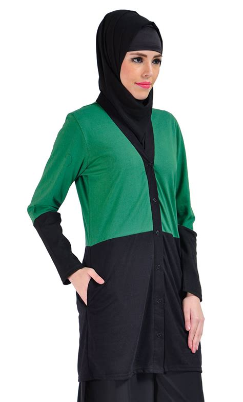 Sakivazra Color Block Tunic Muslim Blouse color block cotton knit cardigan green shop at discount price islamic clothing