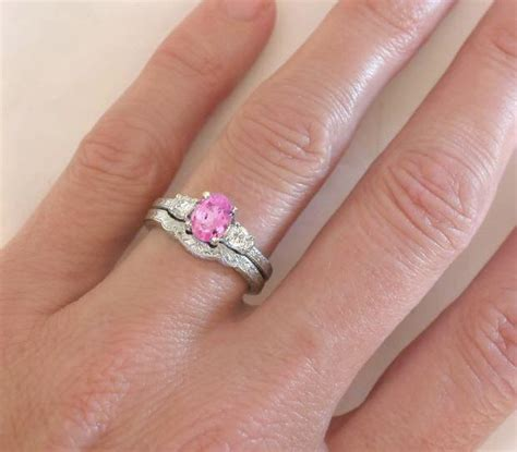 Pink Sapphire Ring   Oval   Past Present Future Sapphire