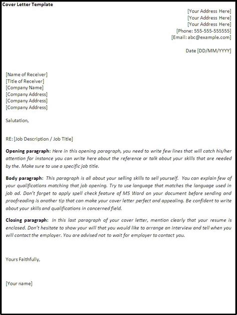 Cover Letter Template Exles Cover Letter Template Word Excel Pdf