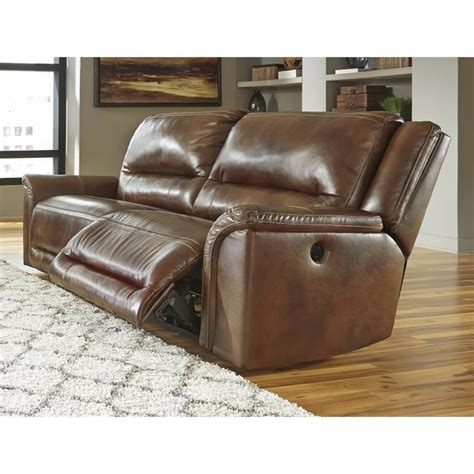 2 Seat Leather Reclining Sofa Jayron Leather 2 Seat Power Reclining Sofa In Harness U7660047