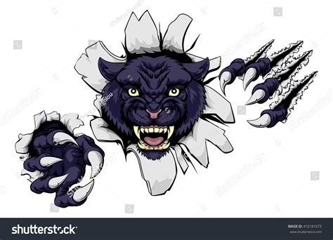Wild Animal Wall Stickers black panther cartoon sports mascot ripping stock vector