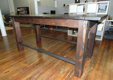 bar height work table custom reclaimed wood farmhouse industrial pub height