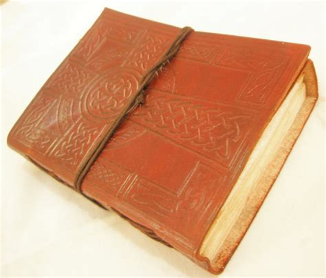 Handmade Leather Bound Journal - celtic cross handmade leather bound embossed journal blank