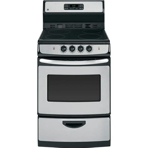 Oven Tangkring Stainless Steel ge 24 in 3 0 cu ft electric range with self cleaning