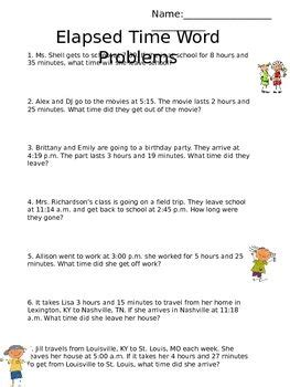elapsed time word problems math ideas word