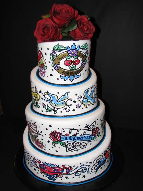tattoo cake 1950 s themed wedding cake cakecentral