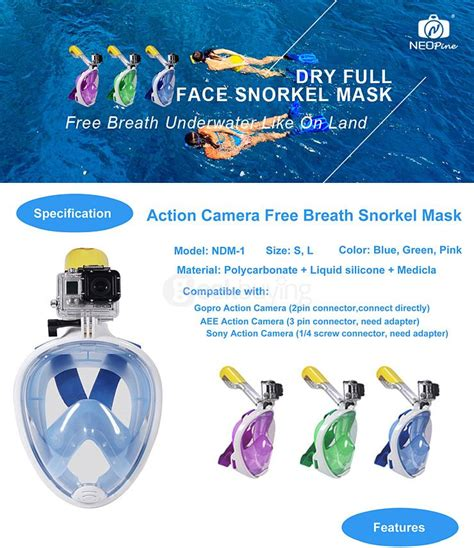 Snorkel Size L Xl Dengan Mount Gopro Xiaomi Yi new neopine water sports diving equipment diving mask