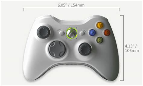 xbox 360 controller dimensions ask about tech