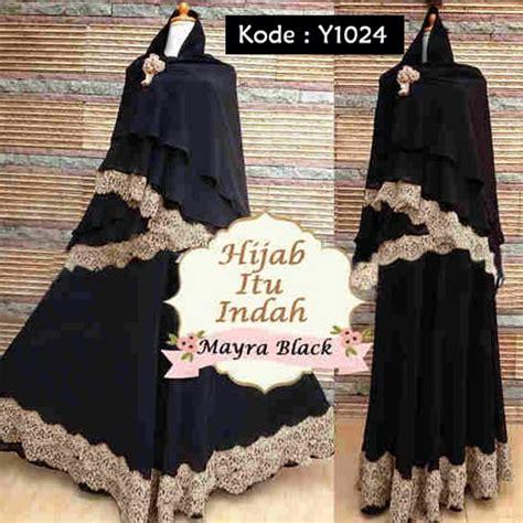 Myara Hitam baju gamis bergo mayra black y1024 busana muslim brokat
