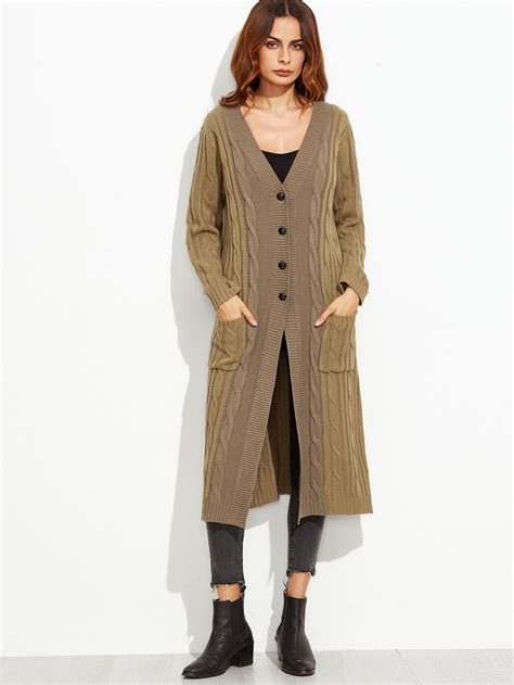 knit coat two tone cable knit button front sweater coat shein