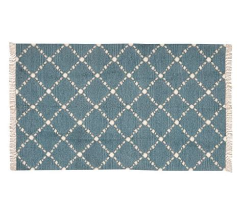 Outdoor Recycled Rugs Dot N Dash Recycled Yarn Indoor Outdoor Rug Blue Pottery Barn