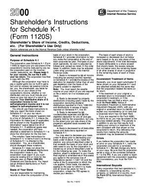 2000 shareholder instructions for schedule k 1 form 1120s