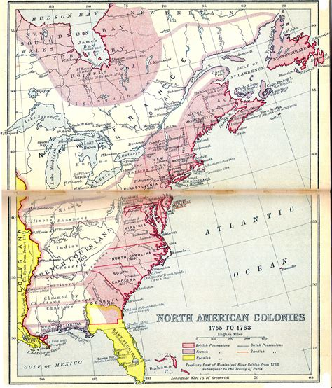 america map in 1750 1750s in the united states