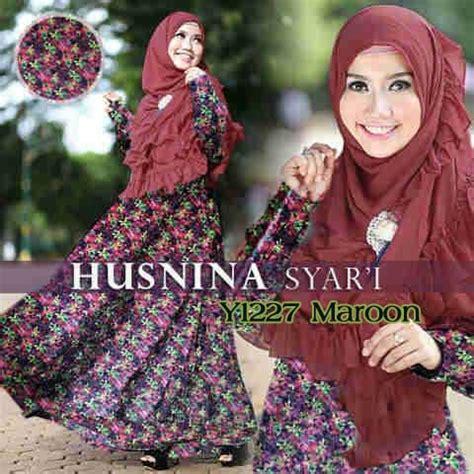 Syar I Liliyana Maroon Bergo gamis bergo husnina premium y1227 baju muslim syar i