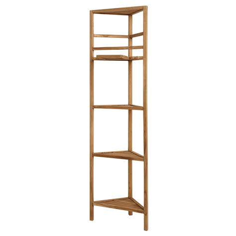 bathroom bookshelf 59 quot teak corner bathroom shelf shower caddies bathroom