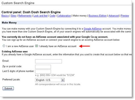 adsense zip code how to set up google custom search for your website