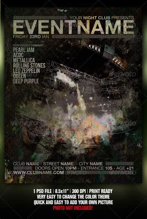 heavy metal night club party concert flyer download