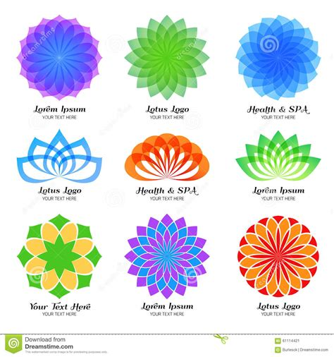 lotus flower colors lotus color vector logo label and emblem set stock vector