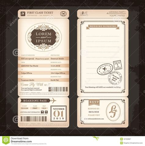 retro ticket place card template vintage style boarding pass ticket wedding card stock