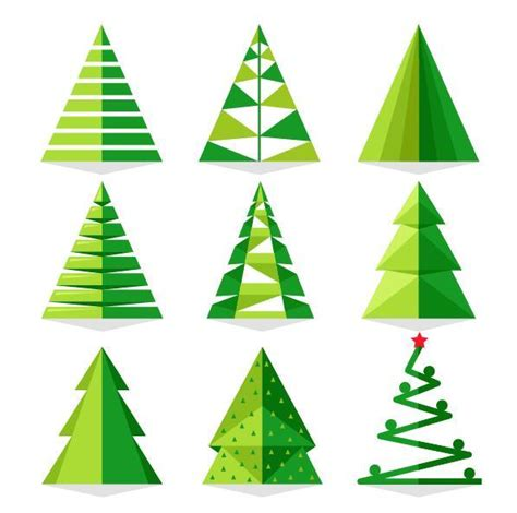 collection of christmas tree paper cut christmas tree