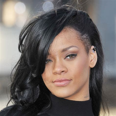 oneside black hair styles rihanna dyes her hair black with shaved sides popsugar