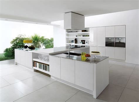 White Kitchen Flooring Ideas Alluring Sleek White Ceramic Floor Tile For Contemporary Kitchen Decor Combine T Shape Cooking