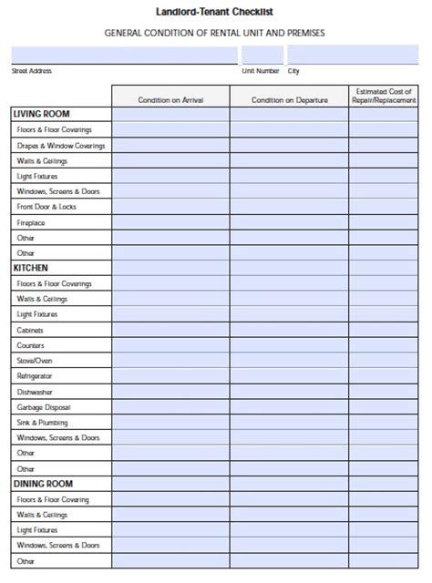 Tenant Apartment Inspection Checklist Free Florida Landlord Tenant Move In Checklist Pdf Template