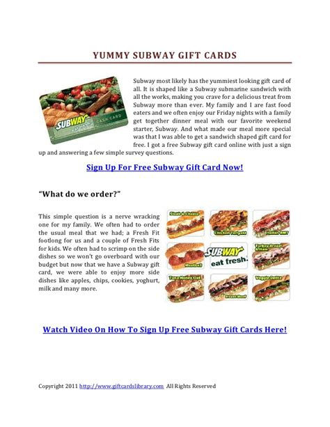 How Can I Check My Subway Gift Card Balance - yummy subway gift cards