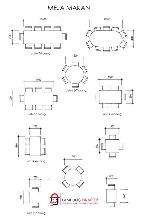standar ukuran meja makan kursus drafter autocad