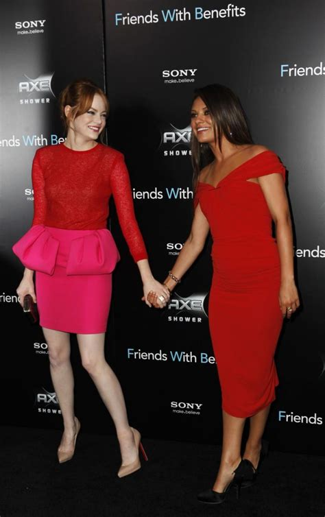 emma stone and mila kunis friends with benefits moscow premiere photos of actress