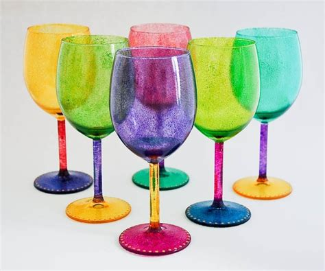 colorful wine glasses wine glasses color me happy