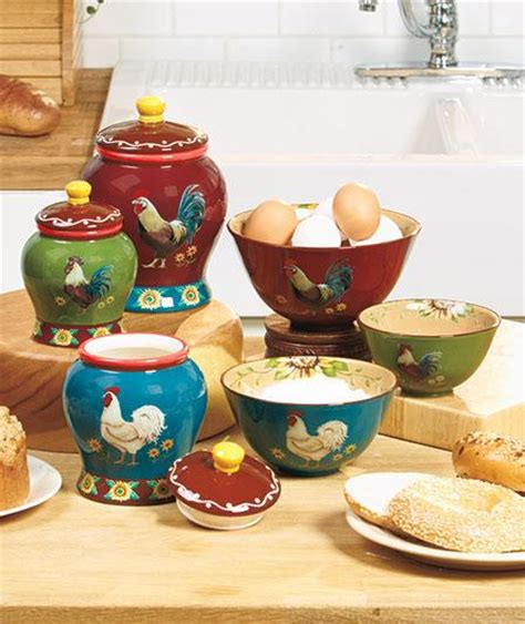 earthenware good morning rooster kitchen canister and or