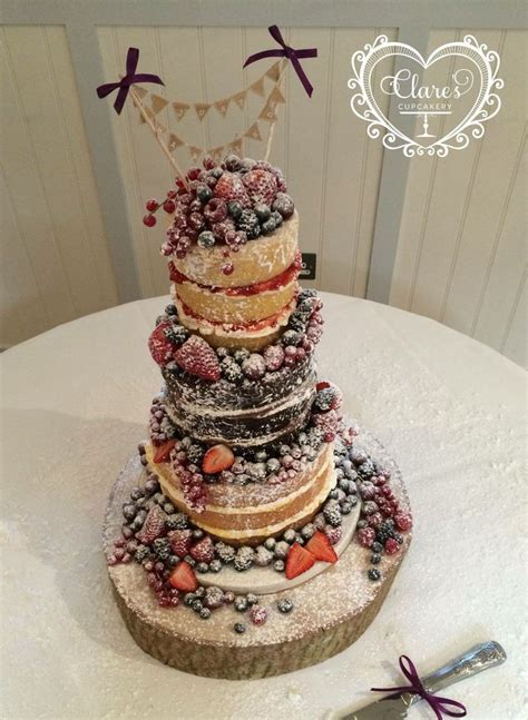 Naked wedding cake from my wedding. Winter fruits used and