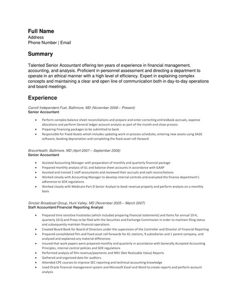 senior staff accountant free sles 24 best finance resume sle templates wisestep
