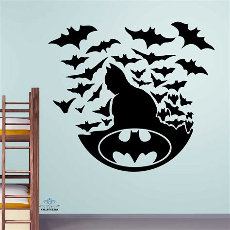 childrens wall sticker batman with bats wall sticker decal children room boys transfer ebay