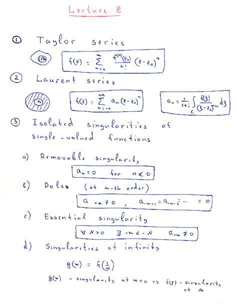 singularities at infinity syllabus of physics 503